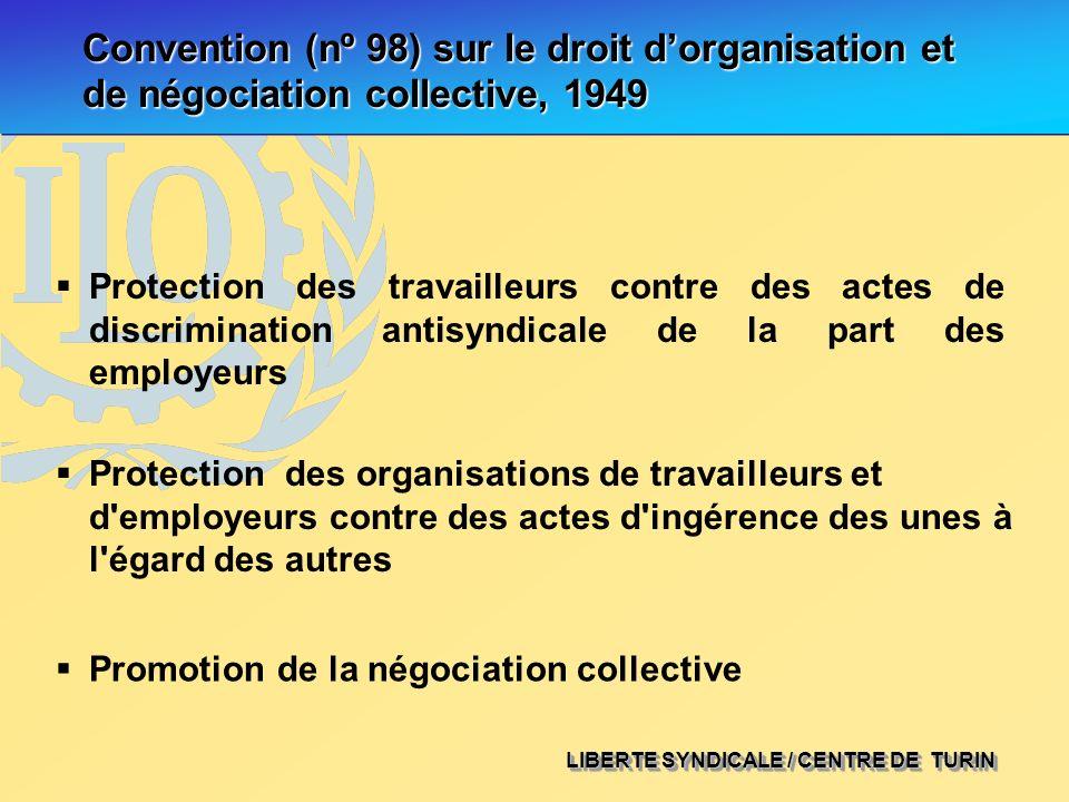 LIBERTE SYNDICALE / CENTRE DE TURIN Convention (nº 98) sur le droit dorganisation et de négociation collective, 1949 Protection des travailleurs contr