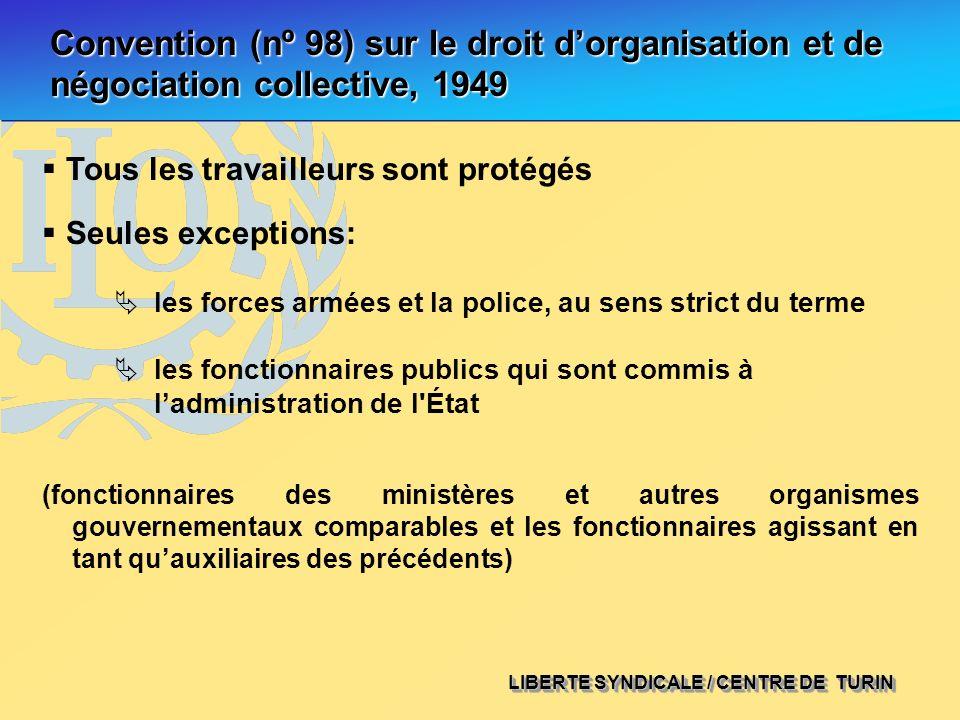 LIBERTE SYNDICALE / CENTRE DE TURIN Convention (nº 98) sur le droit dorganisation et de négociation collective, 1949 les forces armées et la police, a