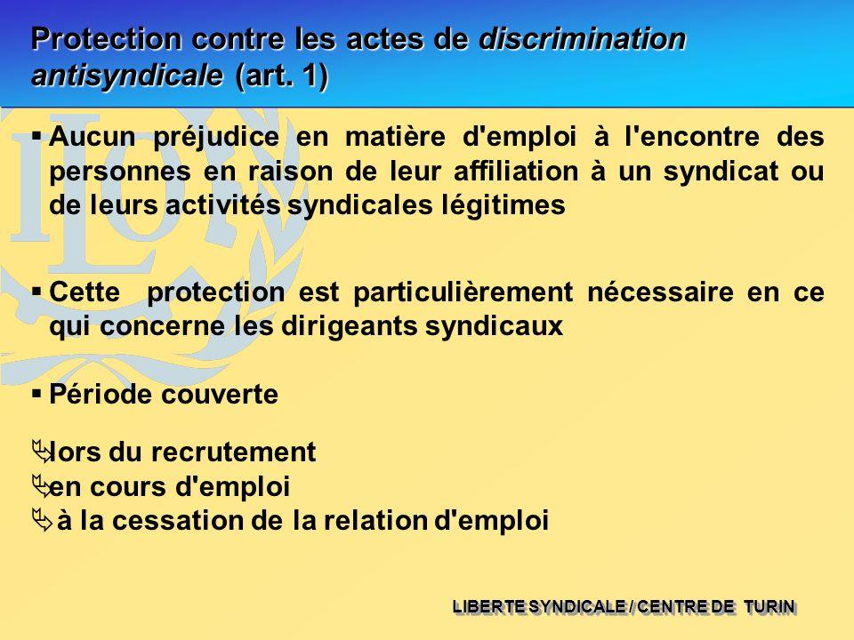 LIBERTE SYNDICALE / CENTRE DE TURIN Protection contre les actes de discrimination antisyndicale (art. 1) Aucun préjudice en matière d'emploi à l'encon
