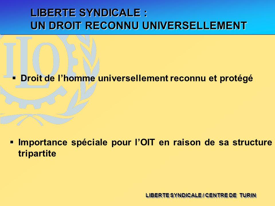 LIBERTE SYNDICALE : UN DROIT RECONNU UNIVERSELLEMENT Droit de lhomme universellement reconnu et protégé I Importance spéciale pour lOIT en raison de s