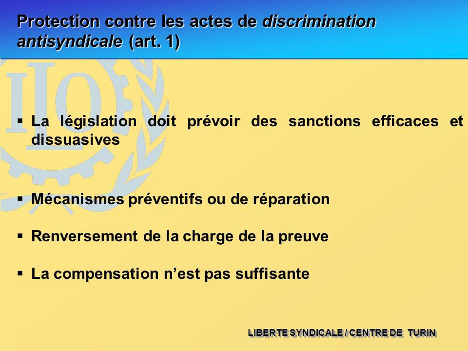 LIBERTE SYNDICALE / CENTRE DE TURIN Protection contre les actes de discrimination antisyndicale (art. 1) La législation doit prévoir des sanctions eff