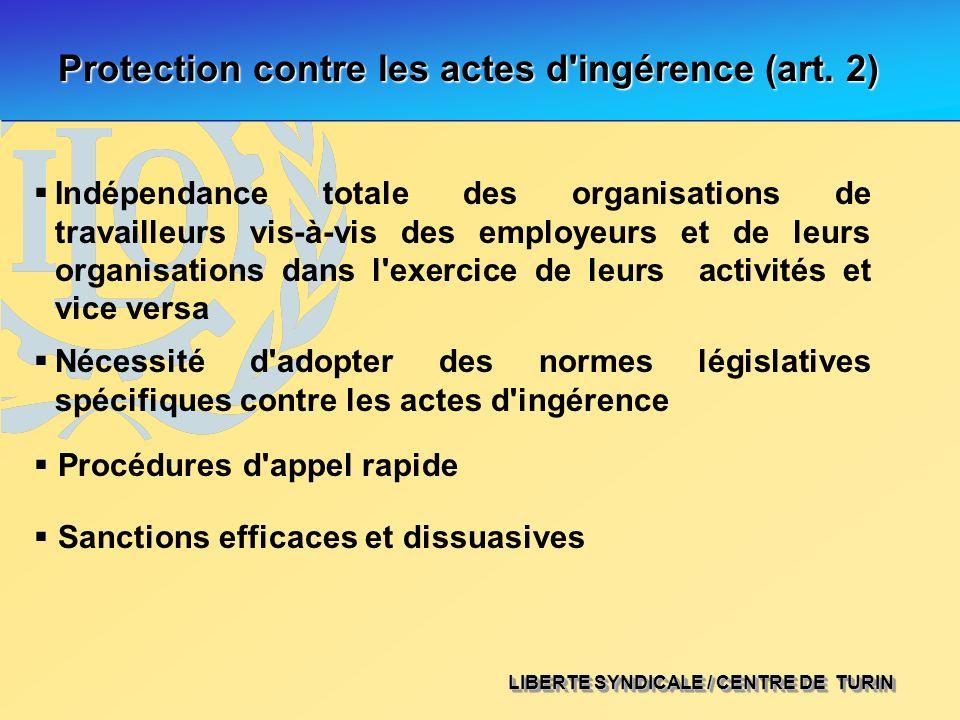 LIBERTE SYNDICALE / CENTRE DE TURIN Protection contre les actes d'ingérence (art. 2) Indépendance totale des organisations de travailleurs vis-à-vis d