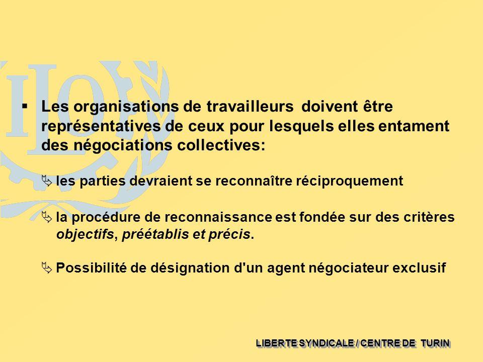 LIBERTE SYNDICALE / CENTRE DE TURIN Les organisations de travailleurs doivent être représentatives de ceux pour lesquels elles entament des négociatio