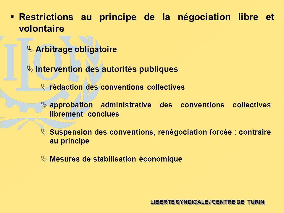 LIBERTE SYNDICALE / CENTRE DE TURIN Restrictions au principe de la négociation libre et volontaire rédaction des conventions collectives approbation a