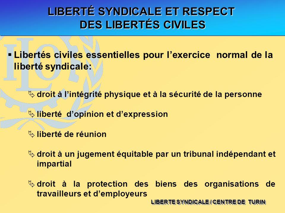 LIBERTE SYNDICALE / CENTRE DE TURIN LIBERTÉ SYNDICALE ET RESPECT DES LIBERTÉS CIVILES Libertés civiles essentielles pour lexercice normal de la libert