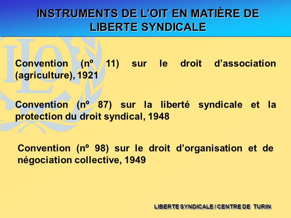LIBERTE SYNDICALE / CENTRE DE TURIN Convention (nº 87) sur la liberté syndicale et la protection du droit syndical, 1948 INSTRUMENTS DE LOIT EN MATIÈR