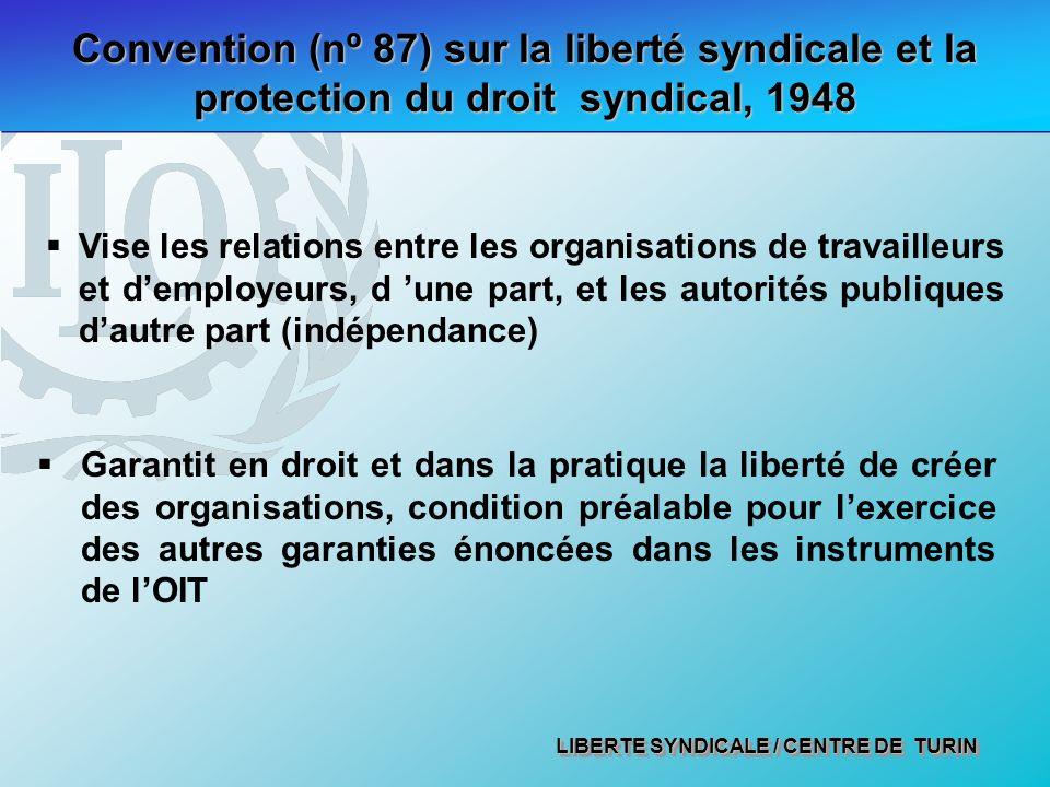 LIBERTE SYNDICALE / CENTRE DE TURIN Convention (nº 87) sur la liberté syndicale et la protection du droit syndical, 1948 Vise les relations entre les