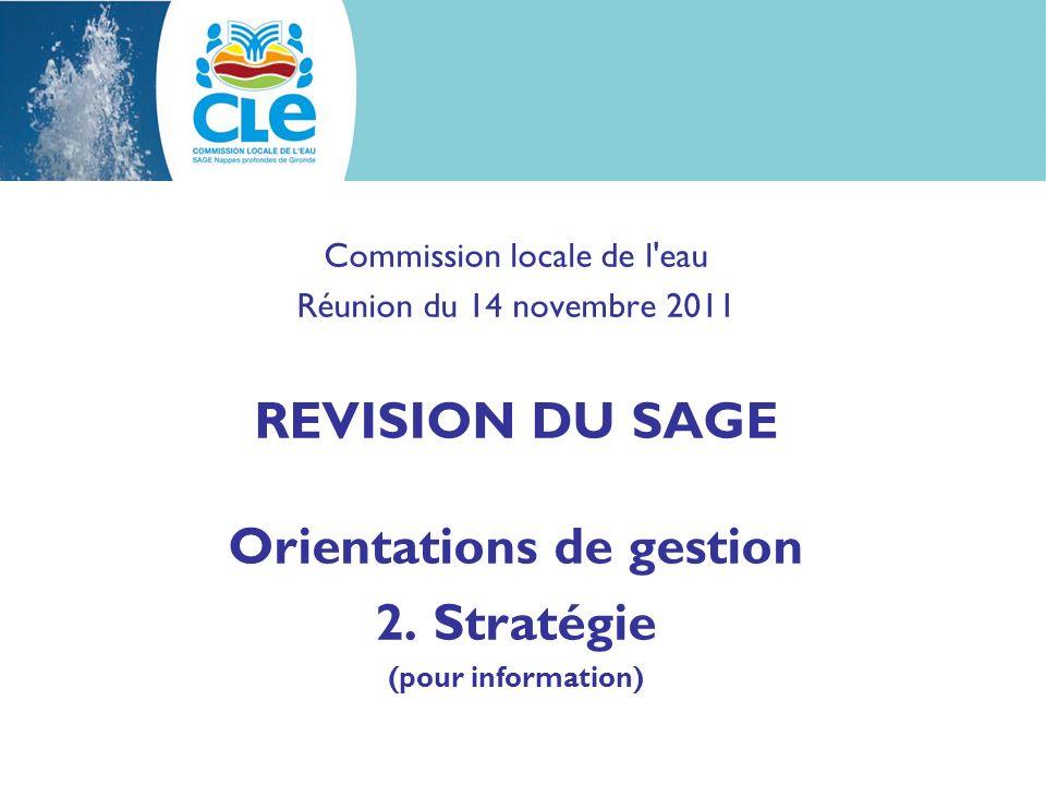 Commission locale de l eau Réunion du 14 novembre 2011 REVISION DU SAGE Orientations de gestion 2.