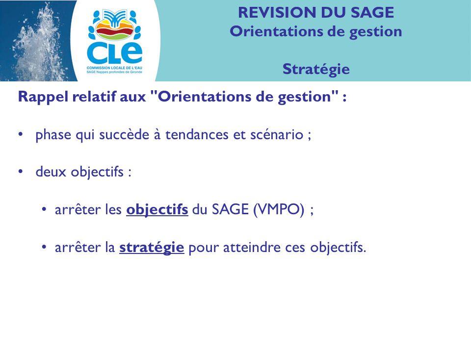 REVISION DU SAGE Orientations de gestion Stratégie Rappel relatif aux Orientations de gestion : phase qui succède à tendances et scénario ; deux objectifs : arrêter les objectifs du SAGE (VMPO) ; arrêter la stratégie pour atteindre ces objectifs.