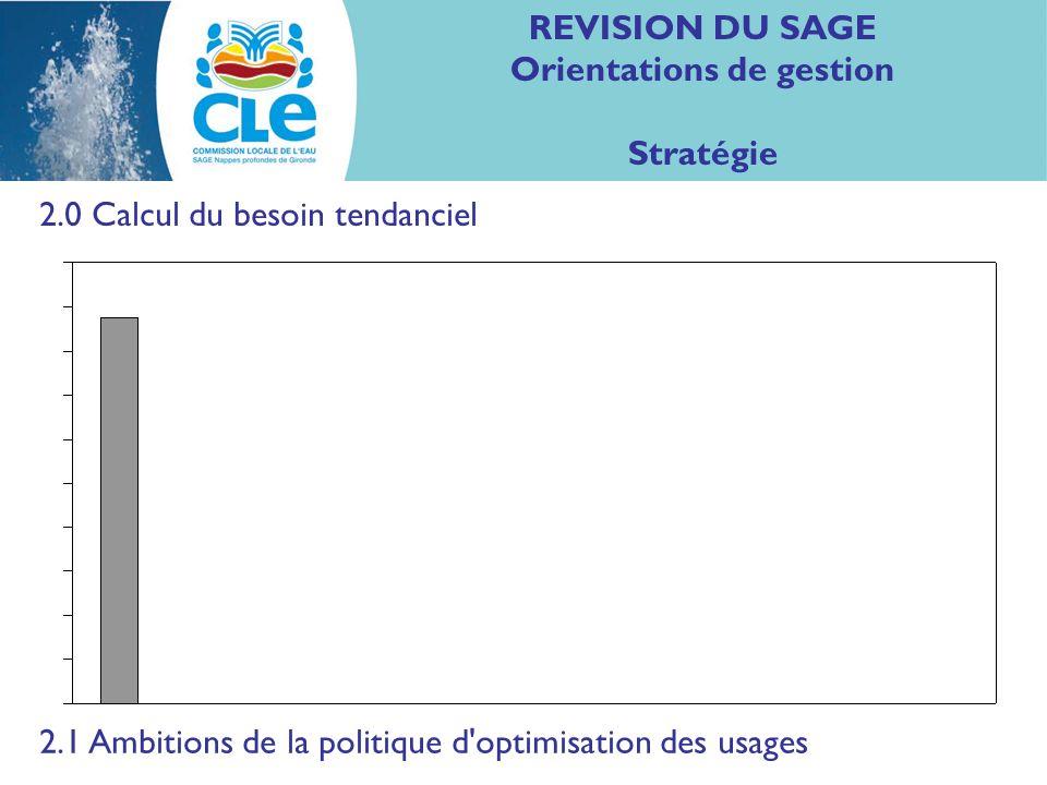 REVISION DU SAGE Orientations de gestion Stratégie 2.0 Calcul du besoin tendanciel 2.1 Ambitions de la politique d optimisation des usages