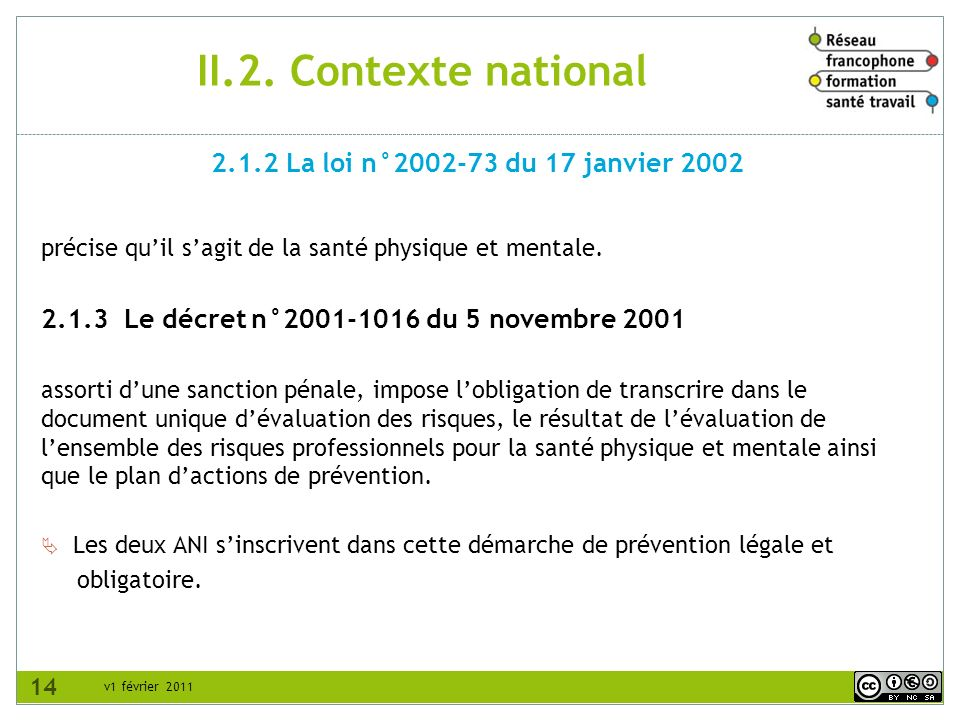 v1 février 2011 II.2. Contexte national précise quil sagit de la santé physique et mentale. 2.1.3 Le décret n°2001-1016 du 5 novembre 2001 assorti dun