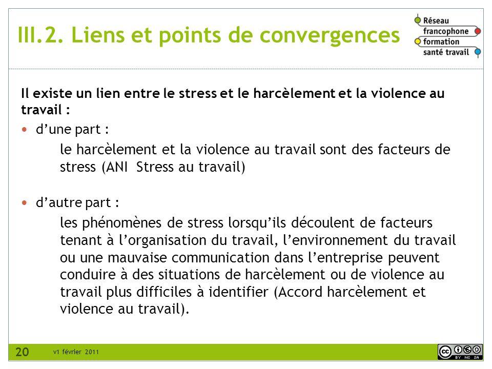 v1 février 2011 III.2. Liens et points de convergences Il existe un lien entre le stress et le harcèlement et la violence au travail : dune part : le