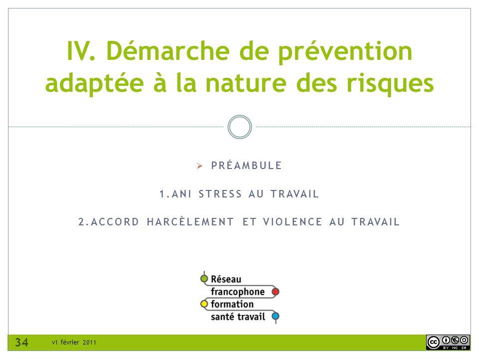 v1 février 2011 PRÉAMBULE 1.ANI STRESS AU TRAVAIL 2.ACCORD HARCÈLEMENT ET VIOLENCE AU TRAVAIL IV. Démarche de prévention adaptée à la nature des risqu