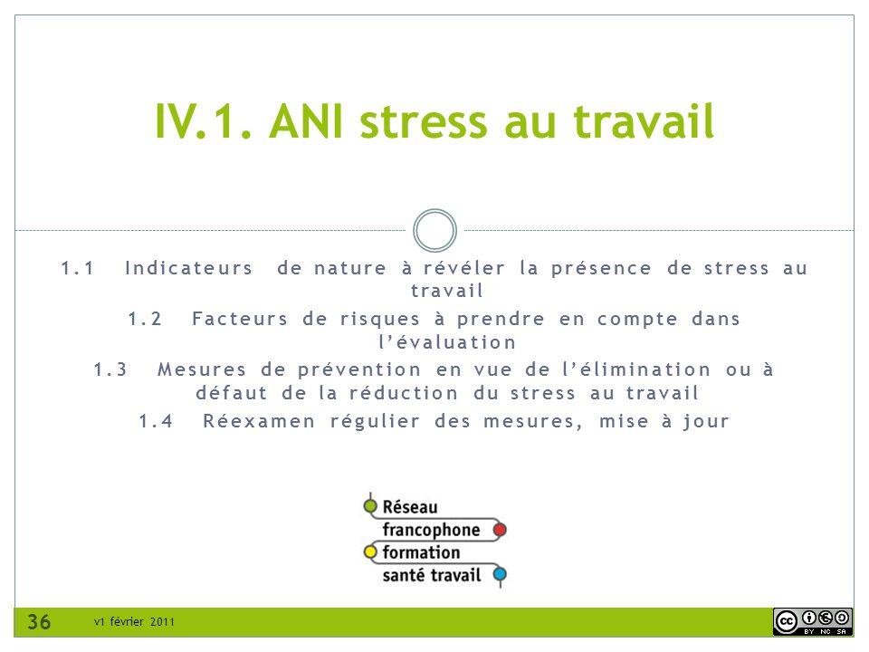 v1 février 2011 1.1 Indicateurs de nature à révéler la présence de stress au travail 1.2 Facteurs de risques à prendre en compte dans lévaluation 1.3