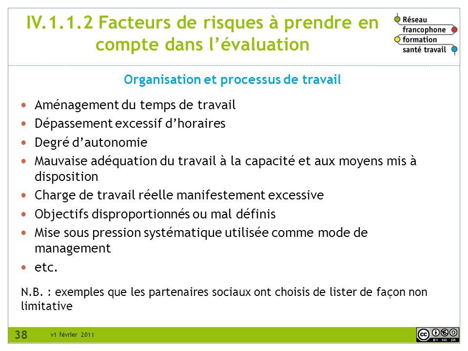 v1 février 2011 IV.1.1.2 Facteurs de risques à prendre en compte dans lévaluation Organisation et processus de travail N.B. : exemples que les partena