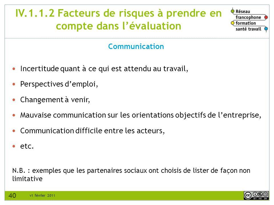 v1 février 2011 IV.1.1.2 Facteurs de risques à prendre en compte dans lévaluation Communication N.B. : exemples que les partenaires sociaux ont choisi