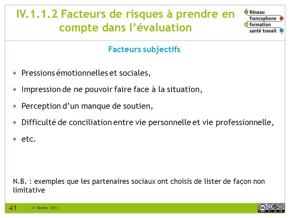 v1 février 2011 IV.1.1.2 Facteurs de risques à prendre en compte dans lévaluation Facteurs subjectifs N.B. : exemples que les partenaires sociaux ont