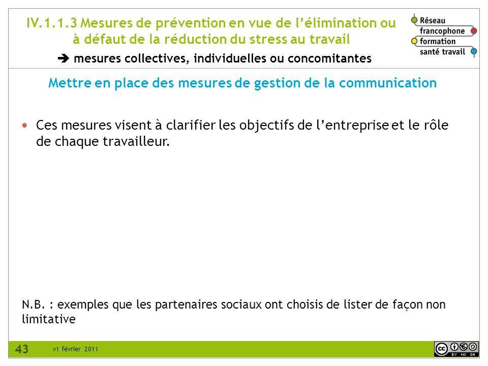 v1 février 2011 IV.1.1.3 Mesures de prévention en vue de lélimination ou à défaut de la réduction du stress au travail Mettre en place des mesures de