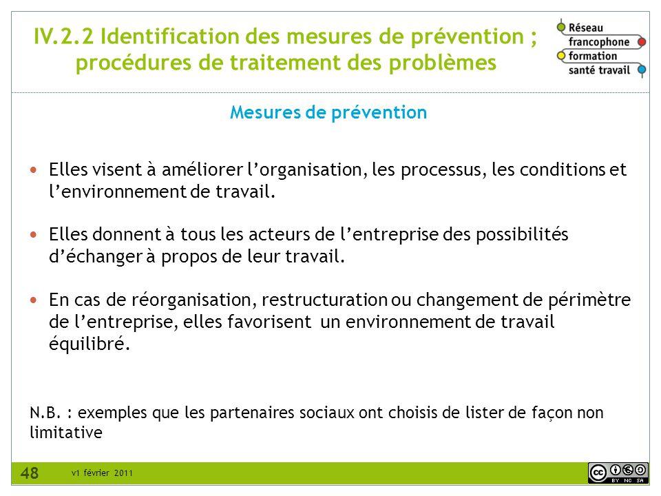 v1 février 2011 IV.2.2 Identification des mesures de prévention ; procédures de traitement des problèmes Mesures de prévention N.B. : exemples que les