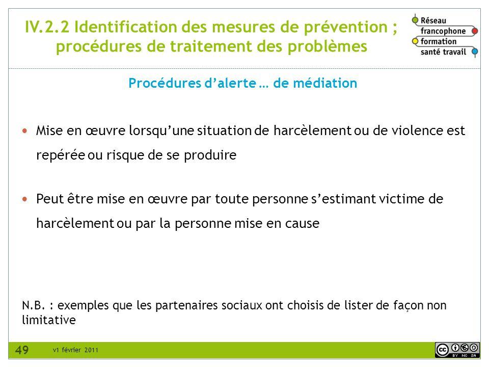 v1 février 2011 IV.2.2 Identification des mesures de prévention ; procédures de traitement des problèmes Procédures dalerte … de médiation N.B. : exem