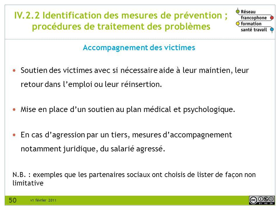 v1 février 2011 IV.2.2 Identification des mesures de prévention ; procédures de traitement des problèmes Accompagnement des victimes N.B. : exemples q