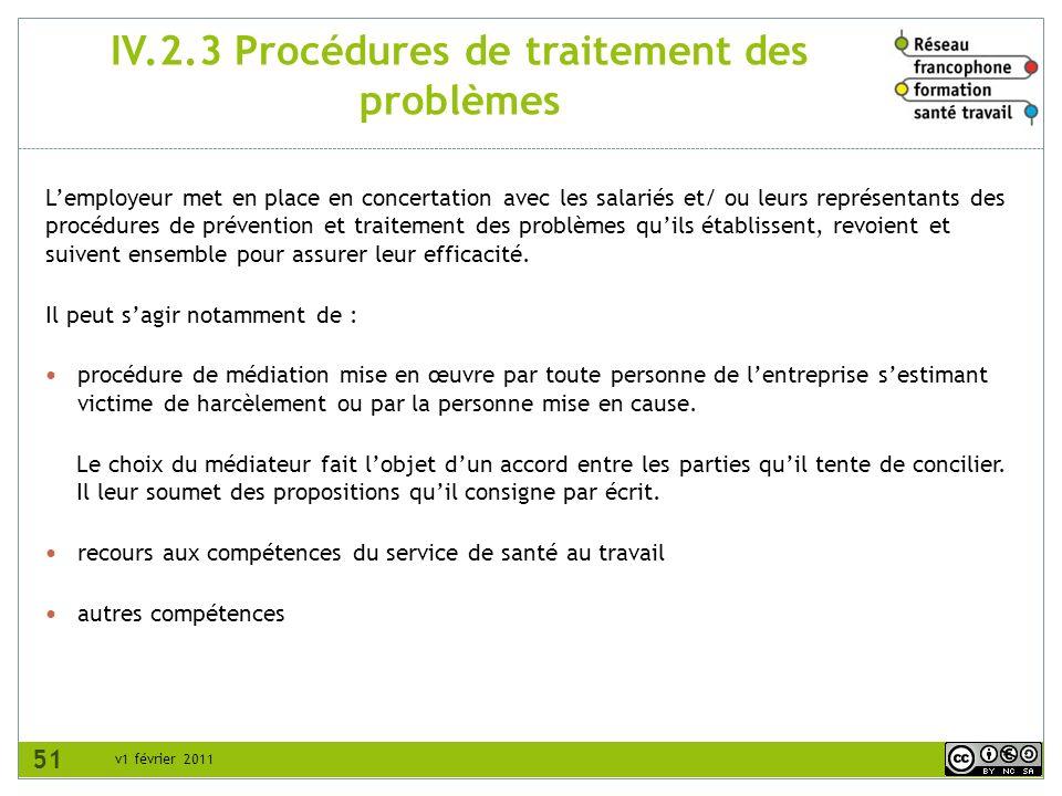 v1 février 2011 IV.2.3 Procédures de traitement des problèmes Lemployeur met en place en concertation avec les salariés et/ ou leurs représentants des