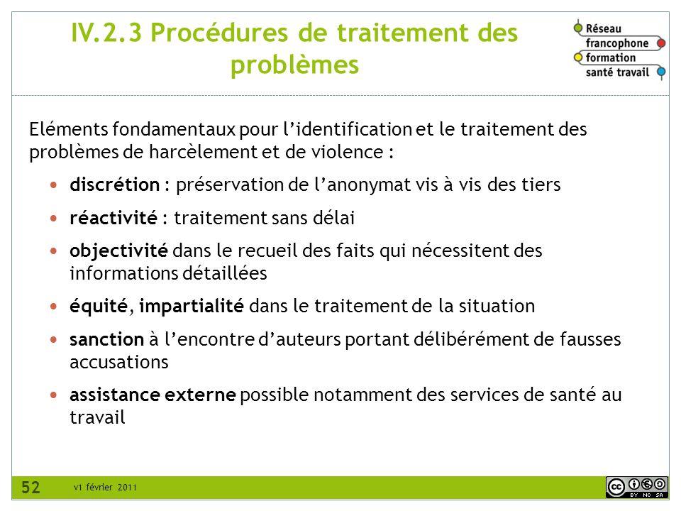 v1 février 2011 IV.2.3 Procédures de traitement des problèmes Eléments fondamentaux pour lidentification et le traitement des problèmes de harcèlement