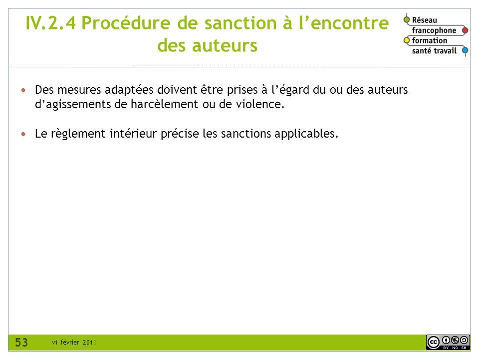 v1 février 2011 IV.2.4 Procédure de sanction à lencontre des auteurs Des mesures adaptées doivent être prises à légard du ou des auteurs dagissements
