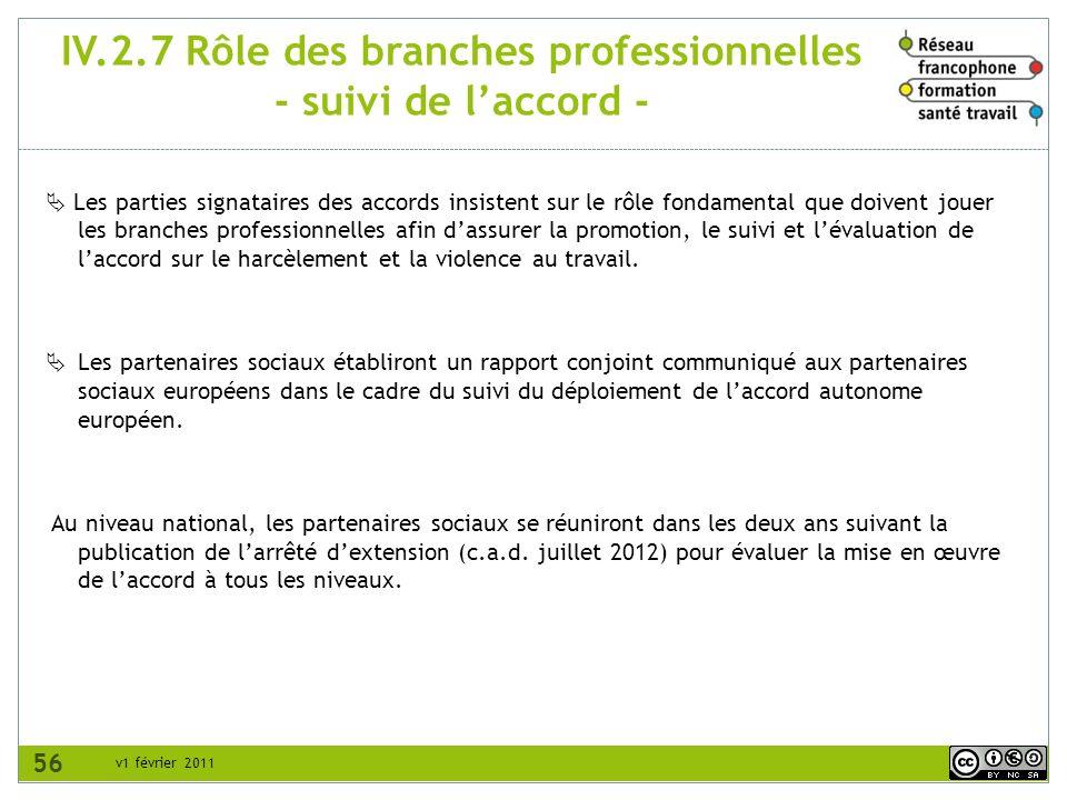 v1 février 2011 IV.2.7 Rôle des branches professionnelles - suivi de laccord - Les parties signataires des accords insistent sur le rôle fondamental q