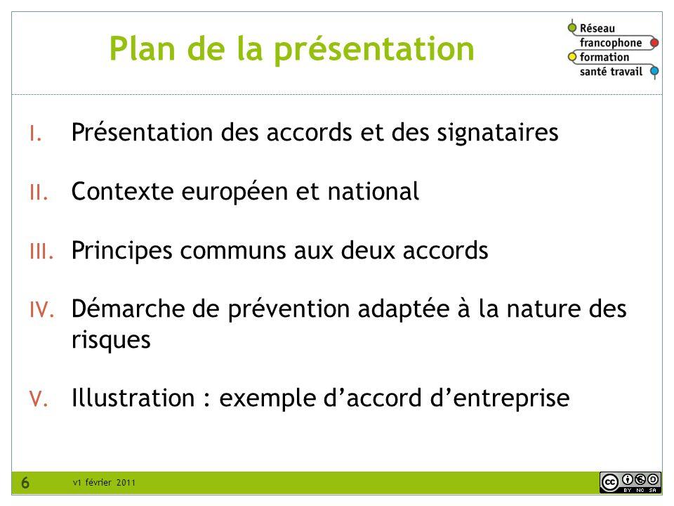 Plan de la présentation 6 I. Présentation des accords et des signataires II. Contexte européen et national III. Principes communs aux deux accords IV.