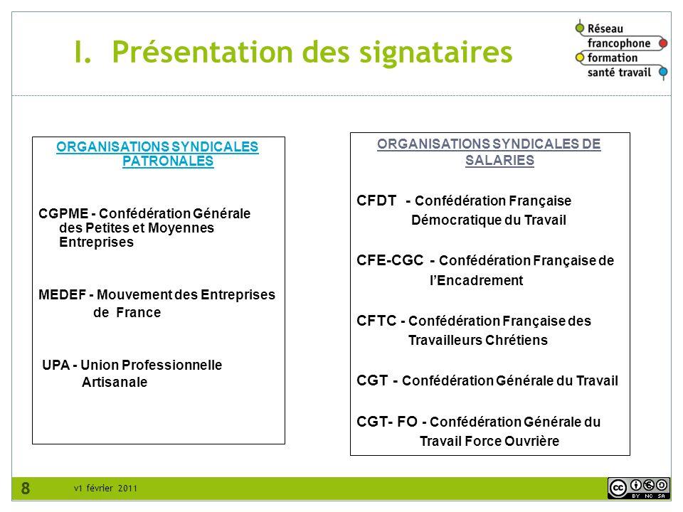 8 v1 février 2011 I. Présentation des signataires 8 ORGANISATIONS SYNDICALES PATRONALES CGPME - Confédération Générale des Petites et Moyennes Entrepr
