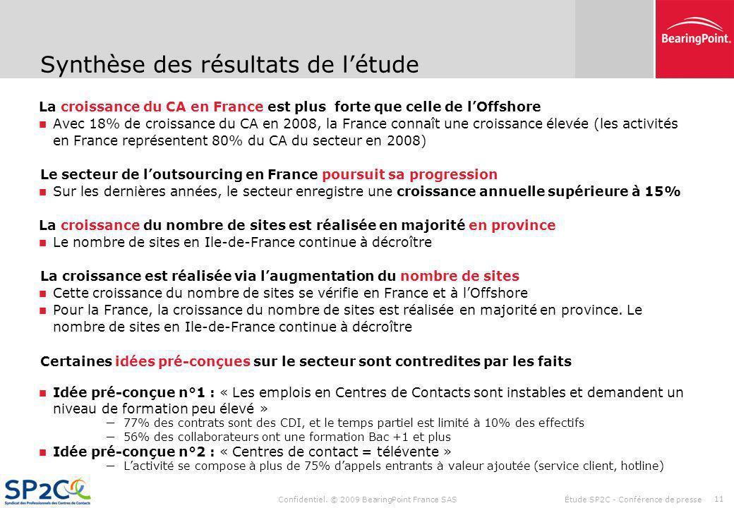 Confidentiel. © 2009 BearingPoint France SAS Étude SP2C - Conférence de presse 10 Localisation des emplois La croissance se traduit par louverture de