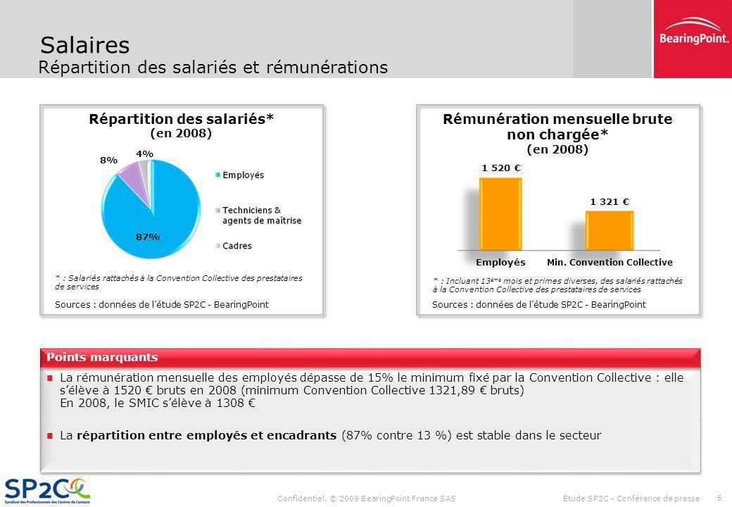 Confidentiel. © 2009 BearingPoint France SAS Étude SP2C - Conférence de presse 5 Données financières Un poids du ratio coût de personnel / CA différen