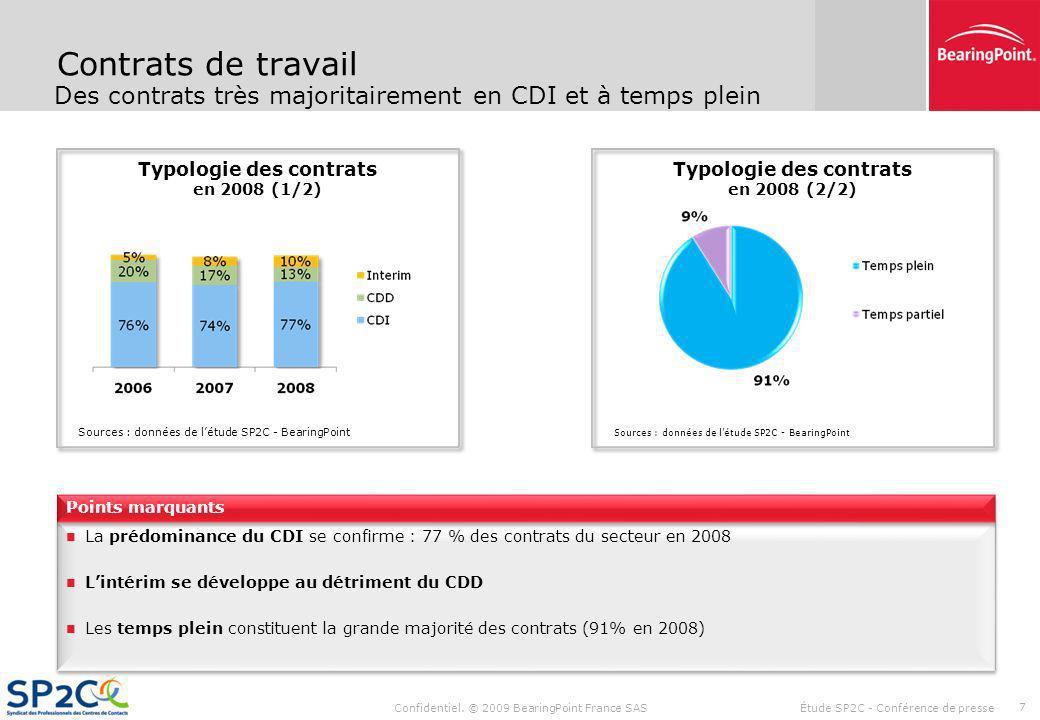 Confidentiel. © 2009 BearingPoint France SAS Étude SP2C - Conférence de presse 6 Salaires Répartition des salariés et rémunérations Sources : données