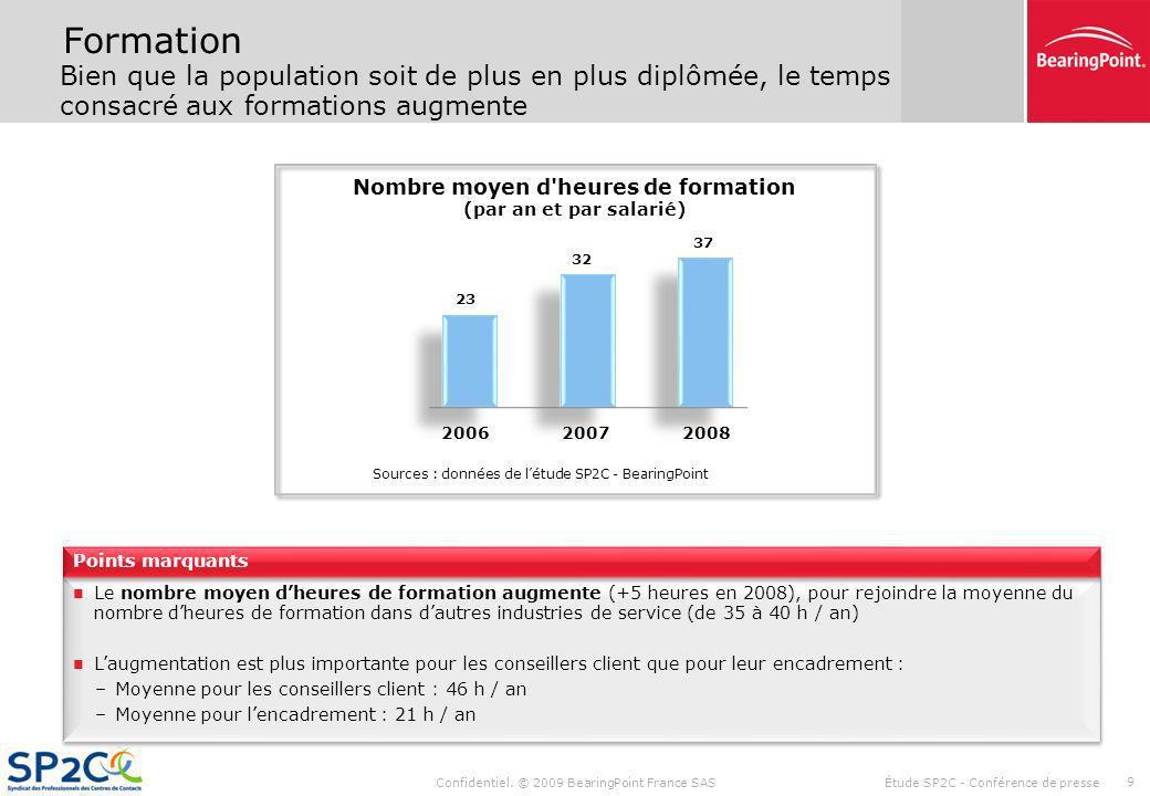 Confidentiel. © 2009 BearingPoint France SAS Étude SP2C - Conférence de presse 8 Niveau détudes Pour la 1ère année, plus de la moitié des salariés ont