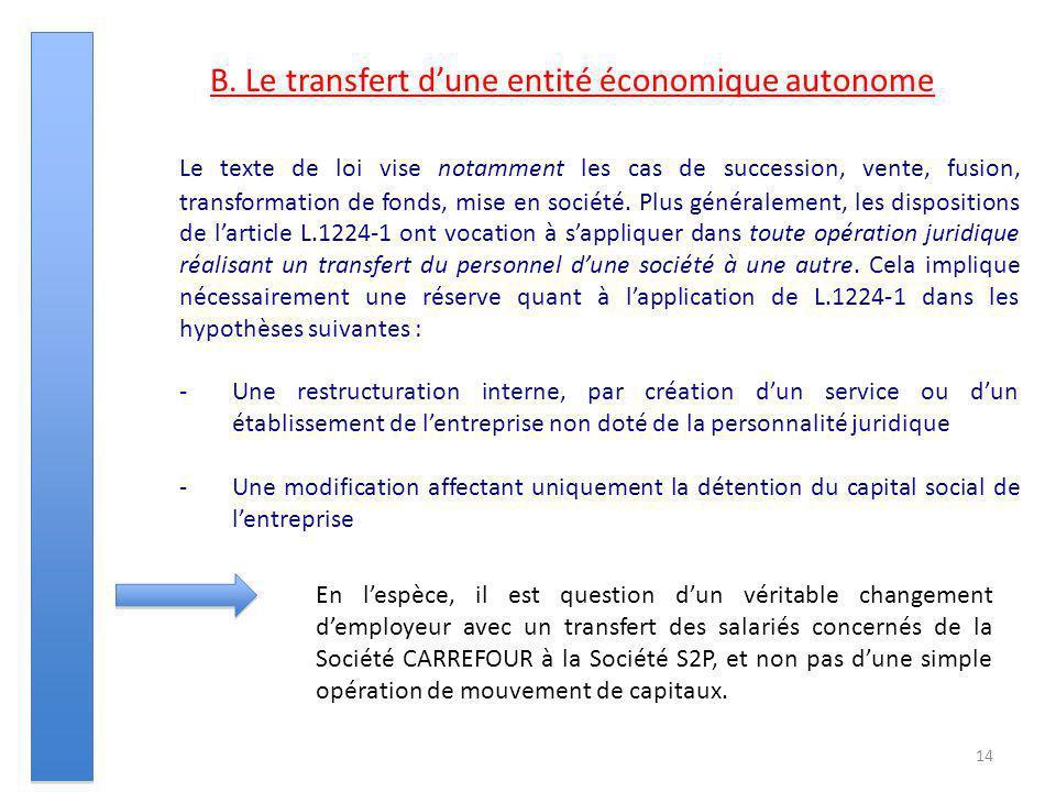 14 B. Le transfert dune entité économique autonome Le texte de loi vise notamment les cas de succession, vente, fusion, transformation de fonds, mise