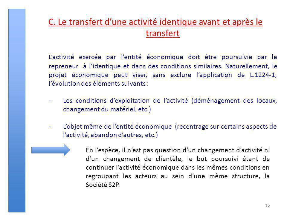 15 C. Le transfert dune activité identique avant et après le transfert Lactivité exercée par lentité économique doit être poursuivie par le repreneur