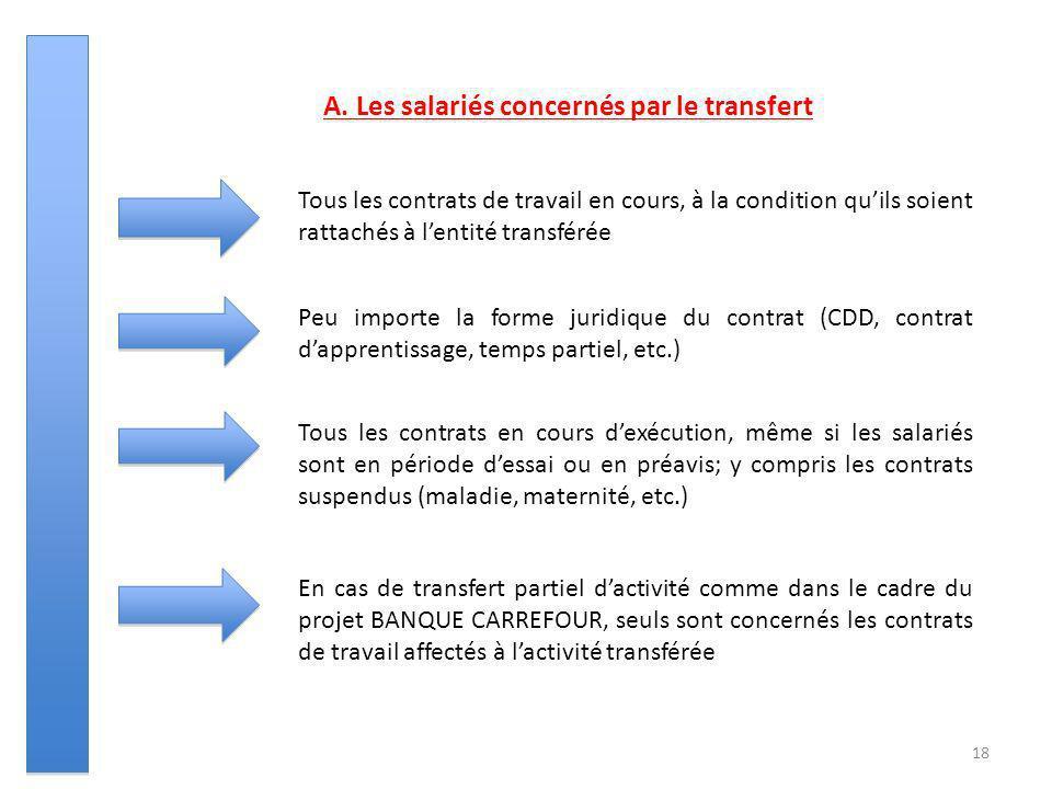 18 A. Les salariés concernés par le transfert Tous les contrats de travail en cours, à la condition quils soient rattachés à lentité transférée Peu im