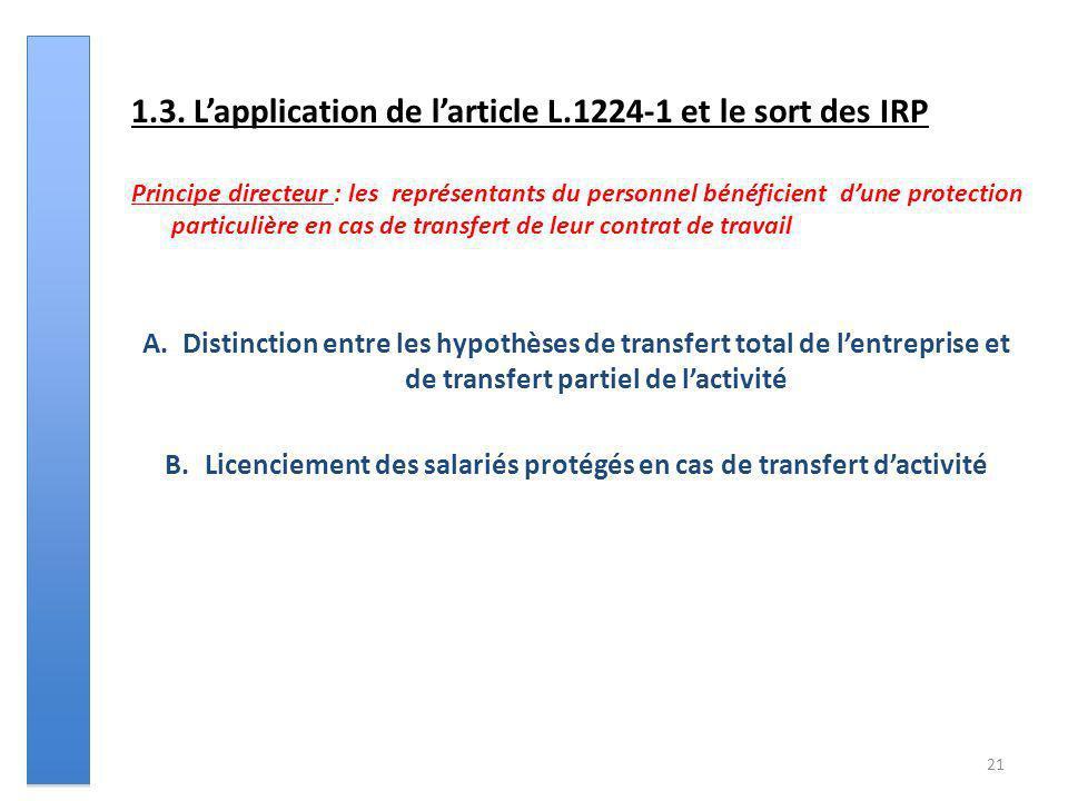 21 1.3. Lapplication de larticle L.1224-1 et le sort des IRP Principe directeur : les représentants du personnel bénéficient dune protection particuli
