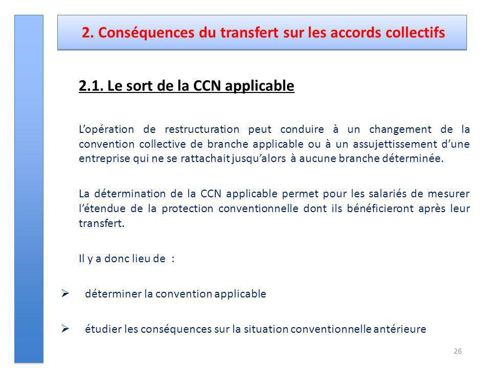 2. Conséquences du transfert sur les accords collectifs 2.1. Le sort de la CCN applicable Lopération de restructuration peut conduire à un changement