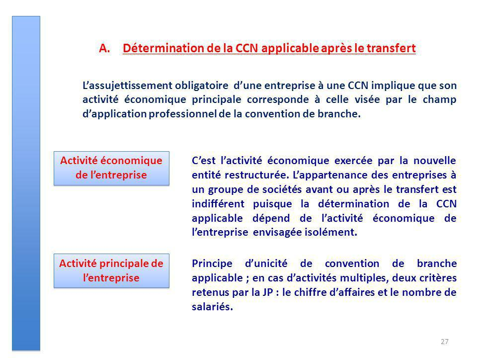 27 A.Détermination de la CCN applicable après le transfert Lassujettissement obligatoire dune entreprise à une CCN implique que son activité économiqu