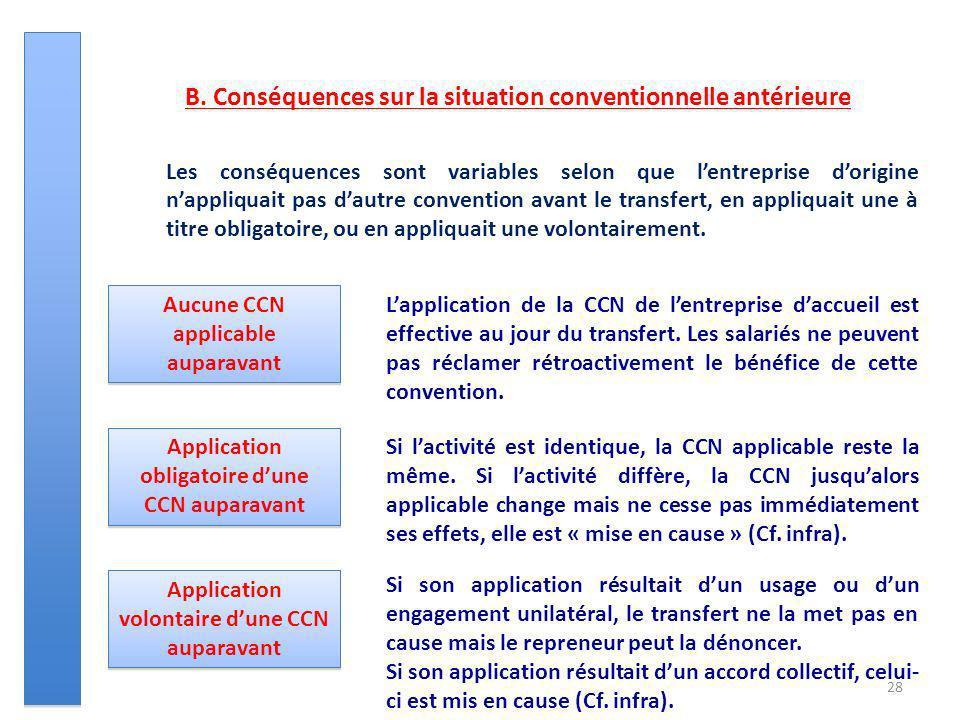 28 B. Conséquences sur la situation conventionnelle antérieure Les conséquences sont variables selon que lentreprise dorigine nappliquait pas dautre c