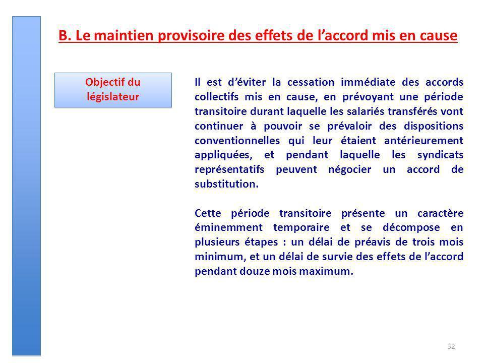 32 Objectif du législateur Il est déviter la cessation immédiate des accords collectifs mis en cause, en prévoyant une période transitoire durant laqu