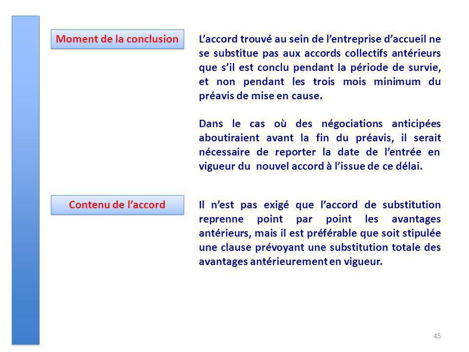 45 Laccord trouvé au sein de lentreprise daccueil ne se substitue pas aux accords collectifs antérieurs que sil est conclu pendant la période de survi