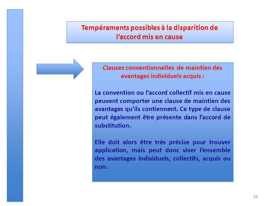 56 Tempéraments possibles à la disparition de laccord mis en cause Clauses conventionnelles de maintien des avantages individuels acquis : La conventi