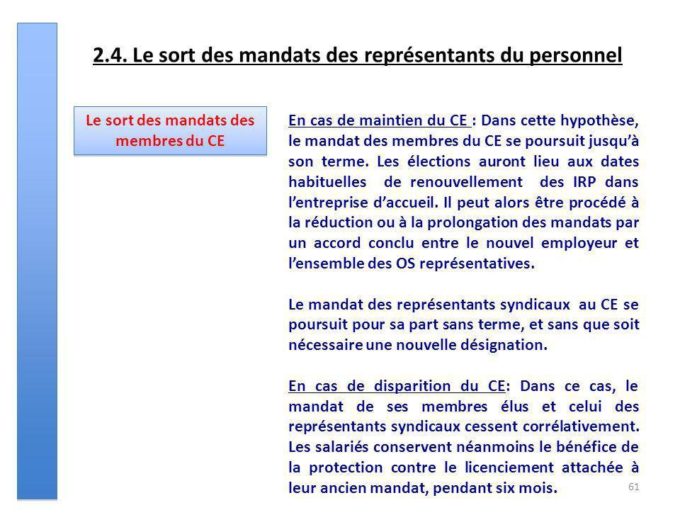 61 2.4. Le sort des mandats des représentants du personnel Le sort des mandats des membres du CE En cas de maintien du CE : Dans cette hypothèse, le m