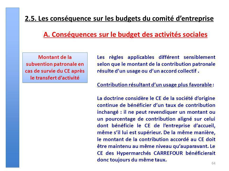 64 2.5. Les conséquence sur les budgets du comité dentreprise Montant de la subvention patronale en cas de survie du CE après le transfert dactivité L