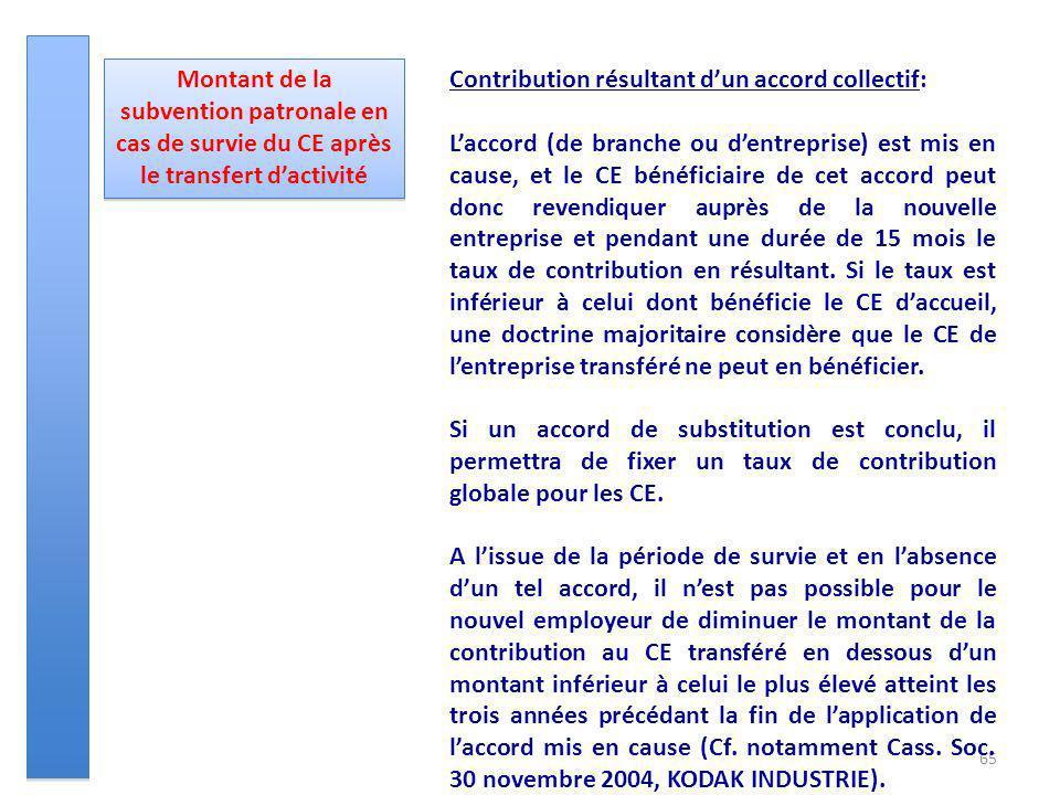 65 Montant de la subvention patronale en cas de survie du CE après le transfert dactivité Contribution résultant dun accord collectif: Laccord (de bra
