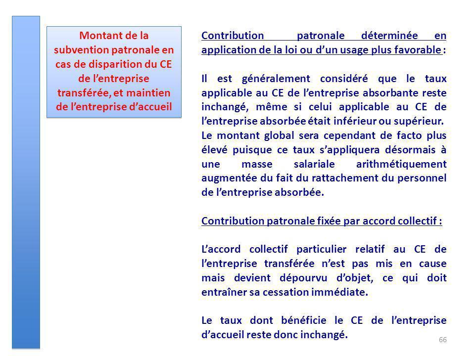 66 Montant de la subvention patronale en cas de disparition du CE de lentreprise transférée, et maintien de lentreprise daccueil Contribution patronal