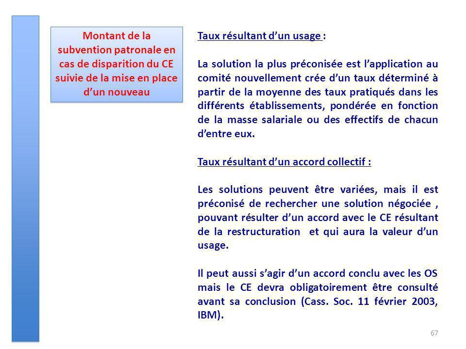 67 Montant de la subvention patronale en cas de disparition du CE suivie de la mise en place dun nouveau Taux résultant dun usage : La solution la plu